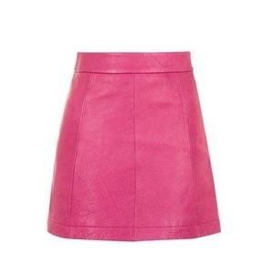 NEW Topshop $140 Pink Leather A Line Skirt Trendy